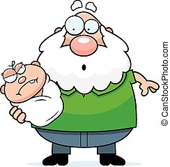 Cartoon Grandpa with Angry Baby
