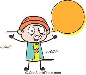 Cartoon Grandpa with Chat Bubble Vector Illustration