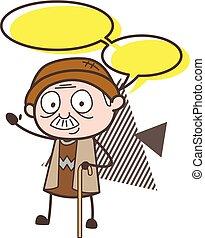 Cartoon Grandpa with Talk Bubble Vector Illustration