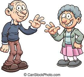 Cartoon grandparents. Vector clip art illustration with...