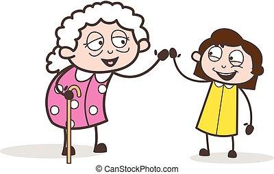 Cartoon Granny and Granddaughter Having Fun Together Vector Illustration