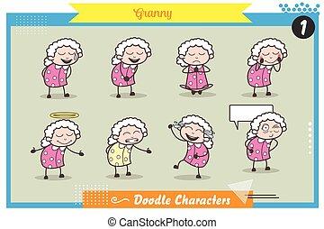 Cartoon Granny Character Various Expressions Vector Set