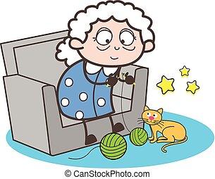 Cartoon Granny Making Woolen Item Vector Illustration