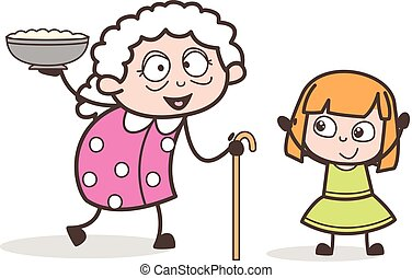 Cartoon Granny Presenting Dish to Her Granddaughter Vector...