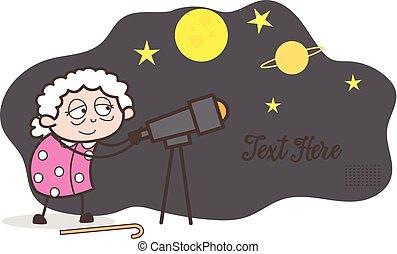 Cartoon Granny Watching Starry Sky Through Telescope Vector Illustration