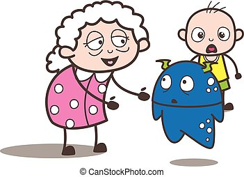 Cartoon Granny with Baby Boy and Alien Monster Vector Illustration