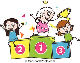 Cartoon Granny with Funny Kids Vector Illustration