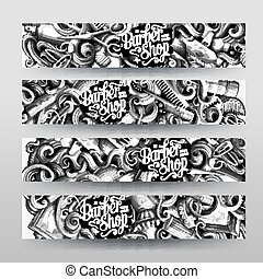 Cartoon graphics vector hand drawn doodles hairstyle horizontal banners