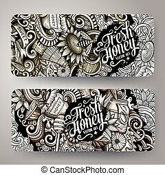 Cartoon graphics vector hand drawn doodles honey horizontal banners