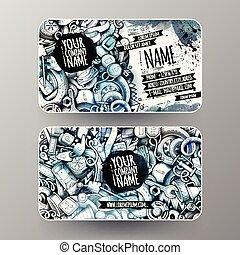 Cartoon graphics watercolor vector hand drawn doodles Automotive id cards design