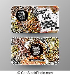 Cartoon graphics watercolor vector hand drawn doodles Classic music id cards design