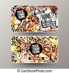 Cartoon graphics watercolor vector hand drawn doodles Honey id cards design