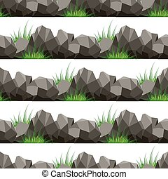 Cartoon grass and stones seamless pattern