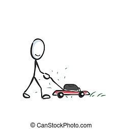 cartoon., grasshopper., gramado, garden., encurtar, doodle, ...