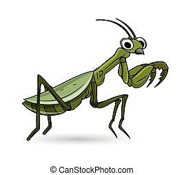 Cartoon Green Grasshopper Insect Vector Illustration
