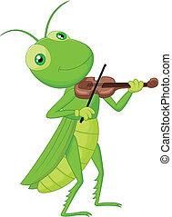 Cartoon Grasshopper with a Violin - Vector illustration of...
