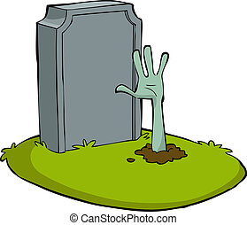 Cartoon grave - Hand out of the grave vector illustration