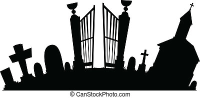 Cartoon silhouette of a spooky graveyard.