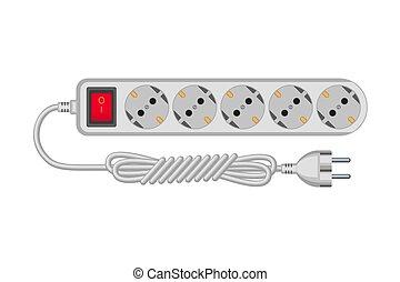 Cartoon gray electric extension cord