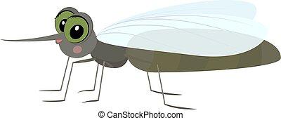 Cartoon gray funny mosquito.