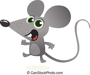 Cartoon gray mouse talking