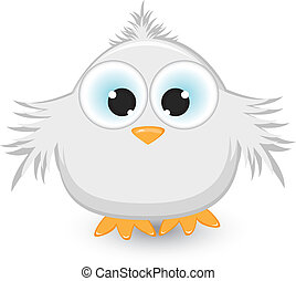 Cartoon gray sparrow. Illustration on white background