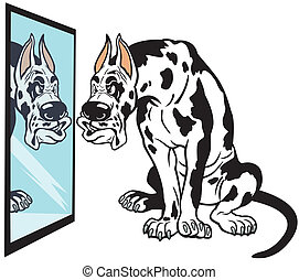 cartoon great dane dog - cartoon dog looking in mirror,...