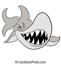 Cartoon Great White Shark