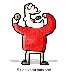 cartoon greedy man eating junk food