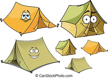 Cartoon green and yellow tents characters