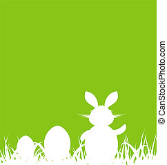 Cartoon green background with Easter rabbit and eggs -...