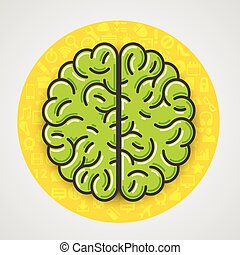 Cartoon green brain sign in yellow circle with icons