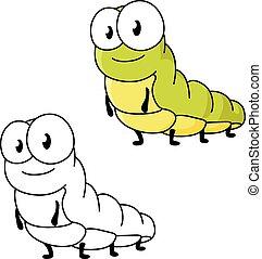 Cartoon green butterfly caterpillar insect