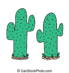 Cartoon green cactuses, isolated on white