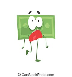 Cartoon green dollar with scared face expression. Funny money character with legs, arms and big eyes. Unit of currency. Flat design vector for sticker, print or mobile app