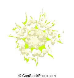 Cartoon green explosion, poof comic effect on white