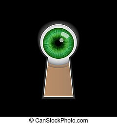 Cartoon green eye peeping through the keyhole.