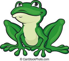 Cartoon green frog isolated on white. Vector illustration
