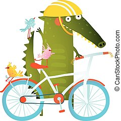 Cartoon green funny crocodile in helmet with bicycle and birds friends