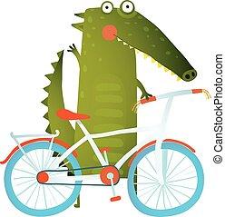 Cartoon green funny crocodile with bicycle