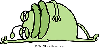 Cartoon green germ resting lying down