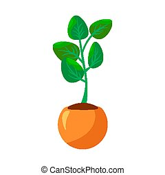 Cartoon green house plants in pots set. Leaf and flowers icon. Flowerpot isolated objects, houseplant flower pot collection. Vector illustration