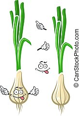 Cartoon green onion or scallion vegetable