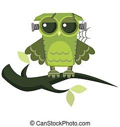 Cartoon green owl flat colorful poster