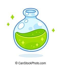 Cartoon green potion bottle