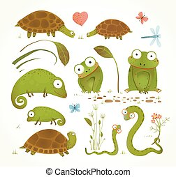 Brightly colored childish frogs turtles snakes lizards grass leaves. Vector illustration.