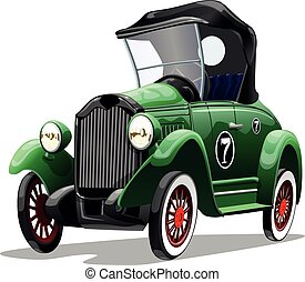 Cartoon green retro car isolated on white background. Vector illustration.