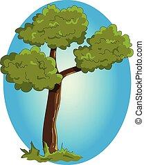Cartoon green tree on blue background.