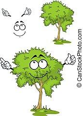 Cartoon green tree on grass