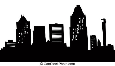 Cartoon Greensboro Skyline